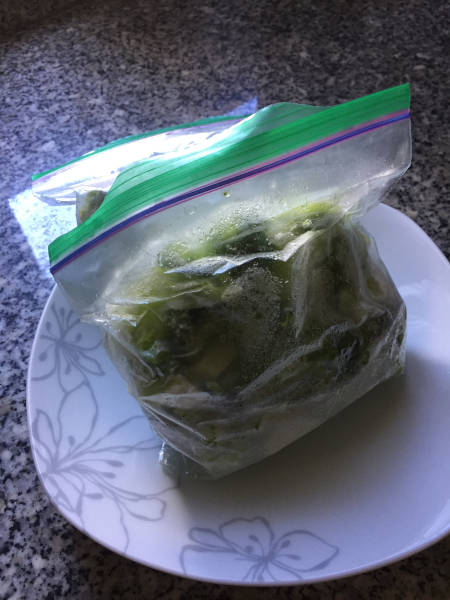 blanched broccoli in freezer bag